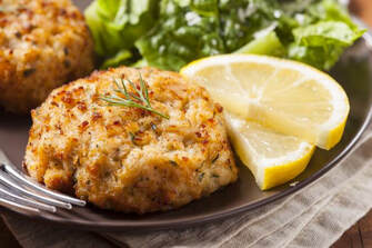 Pacific Coast Crab Cakes with Lemon Slices & Greens